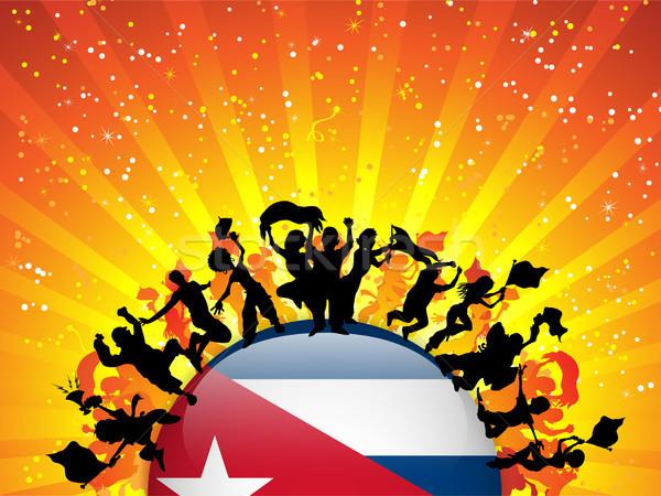 Cuba Sport Fan Crowd with Flag Stock photo © gubh83