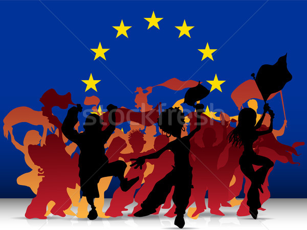 Europe Sport Fan Crowd with Flag Stock photo © gubh83