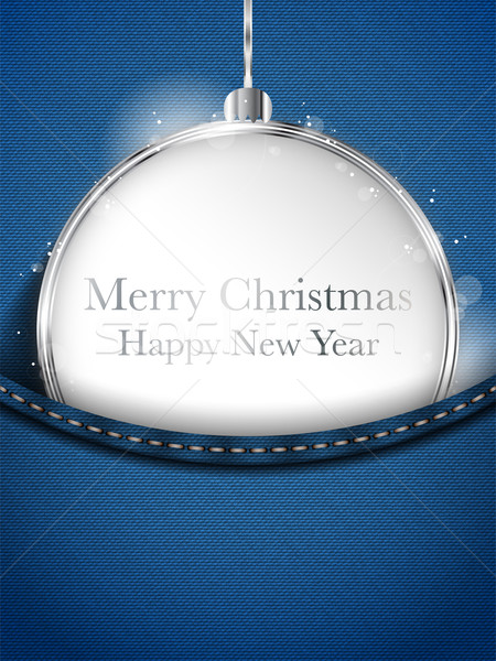 Merry Christmas Happy New Year Ball Silver in Jeans Pocket Stock photo © gubh83