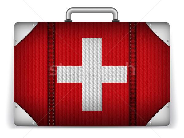 Suíça viajar bagagem bandeira férias vetor Foto stock © gubh83