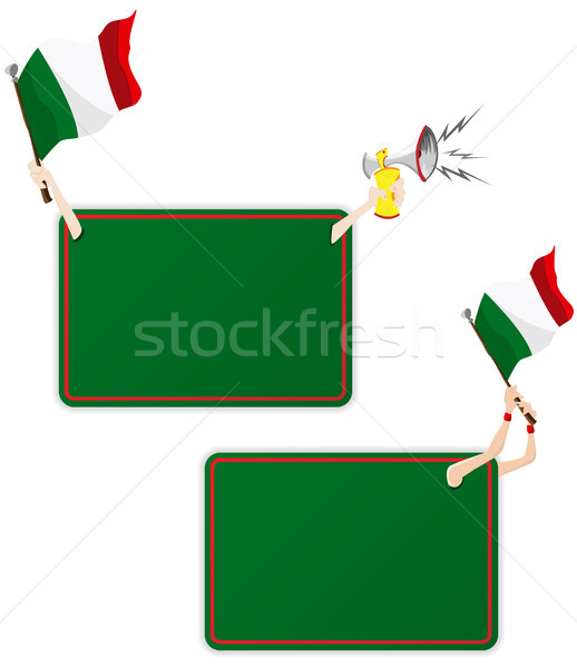 Italy Sport Message Frame with Flag. Set of Two Stock photo © gubh83