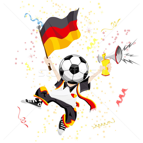 German Soccer Fan with Ball Head Stock photo © gubh83