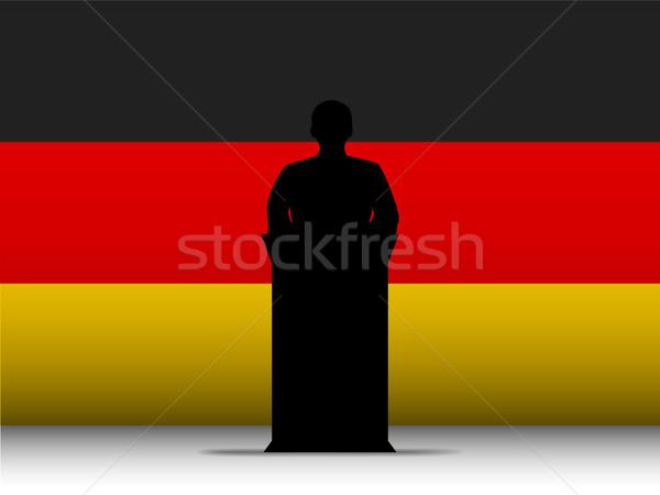 Germany Speech Tribune Silhouette with Flag Background Stock photo © gubh83