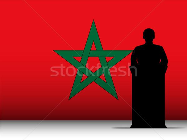 Fas konuşma siluet bayrak vektör adam Stok fotoğraf © gubh83