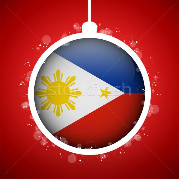 Wesoły christmas czerwony piłka banderą Filipiny Zdjęcia stock © gubh83