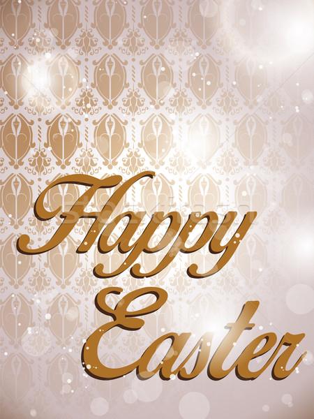 Kellemes húsvétot retro damaszt vektor textúra terv Stock fotó © gubh83