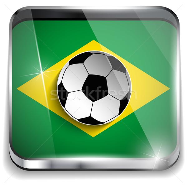 Brazília zászló futballabda vektor sport világ Stock fotó © gubh83