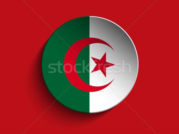 флаг бумаги круга тень кнопки Алжир Сток-фото © gubh83