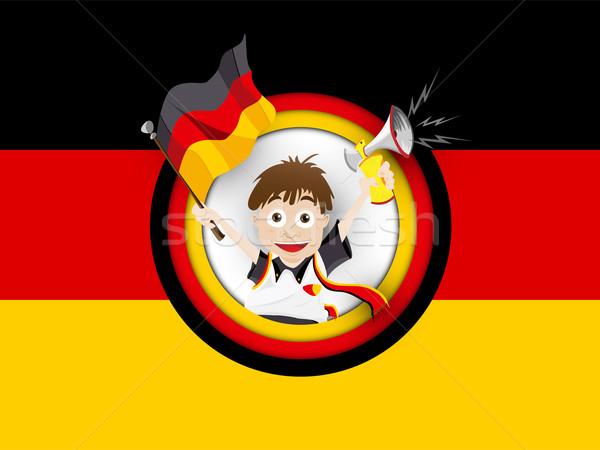 Germany Soccer Fan Flag Cartoon Stock photo © gubh83