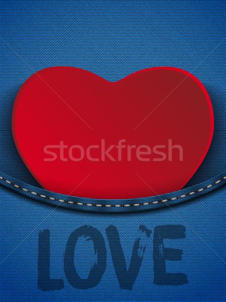 Dia dos namorados coração jeans bolso vetor textura Foto stock © gubh83