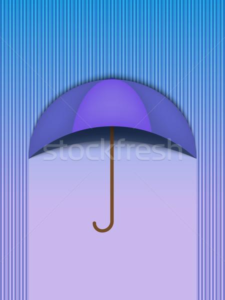 Beautiful Umbrella Protection Rain Blue - Vector Stock photo © gubh83
