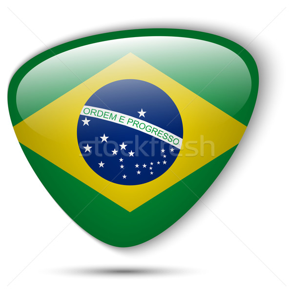 Brazil Flag Glossy Button Stock photo © gubh83
