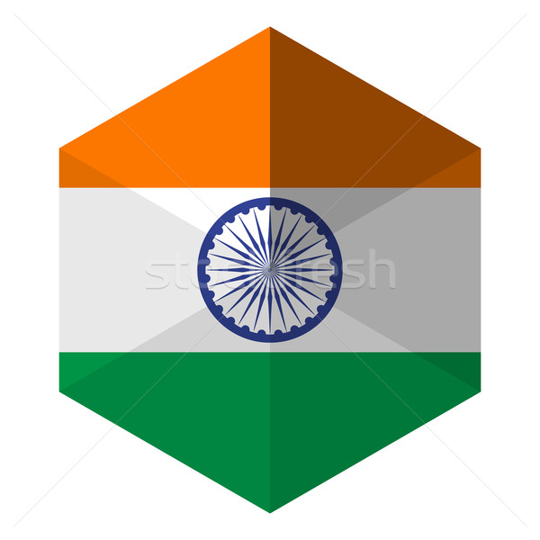 Índia bandeira hexágono ícone botão mundo Foto stock © gubh83