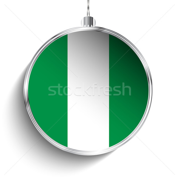 Alegre natal prata bola bandeira Nigéria Foto stock © gubh83