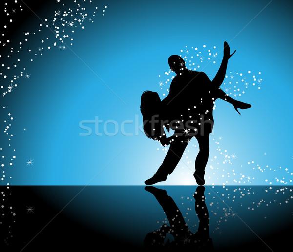Táncosok pár tánc kék pezsgő csillagok Stock fotó © gubh83