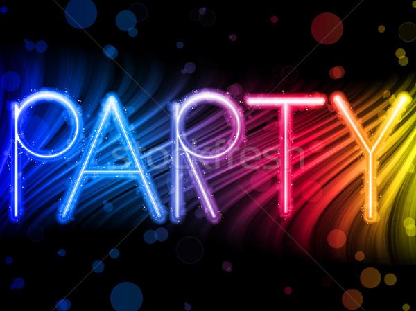 Stockfoto: Partij · abstract · kleurrijk · golven · zwarte · vector