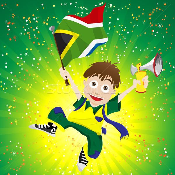 Foto stock: África · do · Sul · esportes · ventilador · bandeira · chifre · vetor