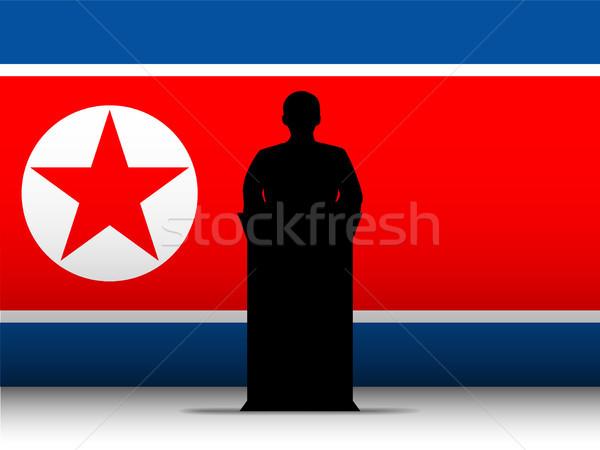 Kuzey savaş konuşma siluet bayrak vektör Stok fotoğraf © gubh83