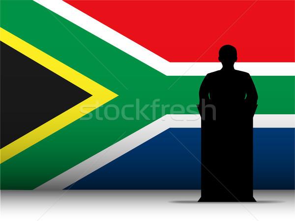 Südafrika Rede Silhouette Flagge Vektor Mann Stock foto © gubh83