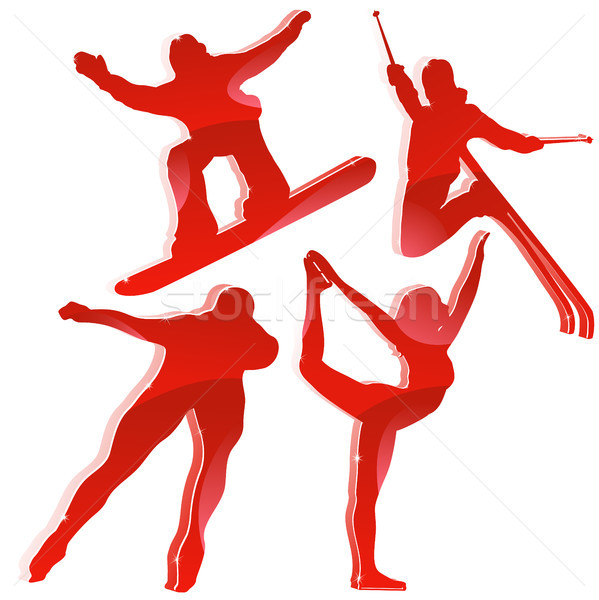 Winter Games Silhouettes in Red Stock photo © gubh83