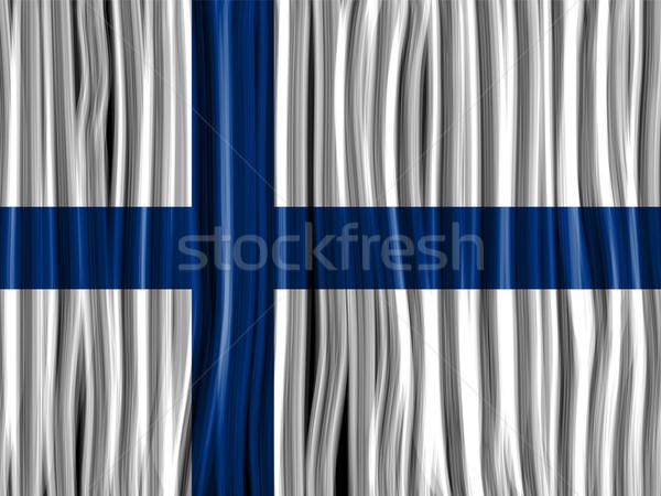 Finlândia bandeira onda tecido textura vetor Foto stock © gubh83