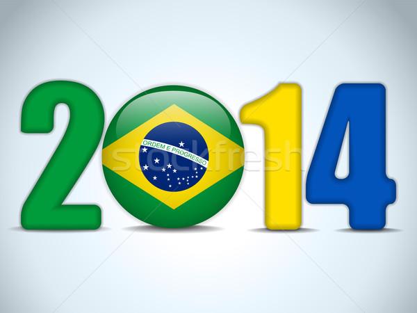 Brasile 2014 calcio bandiera vettore sport Foto d'archivio © gubh83