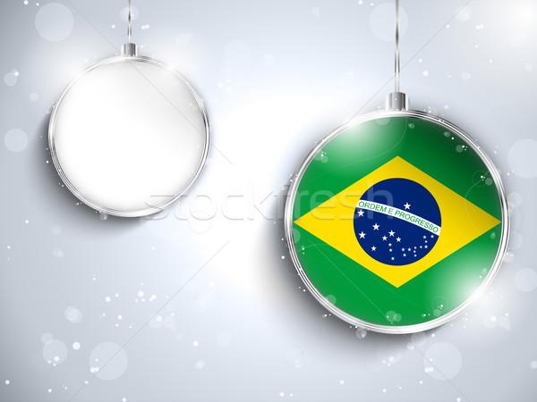 Wesoły christmas srebrny piłka banderą Brazylia Zdjęcia stock © gubh83
