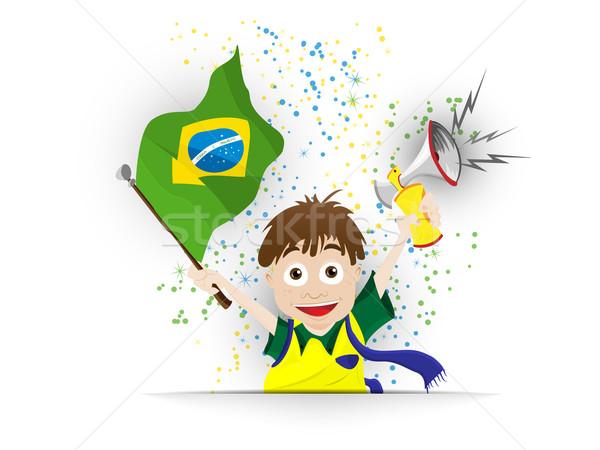 Brasil esportes ventilador bandeira chifre vetor Foto stock © gubh83