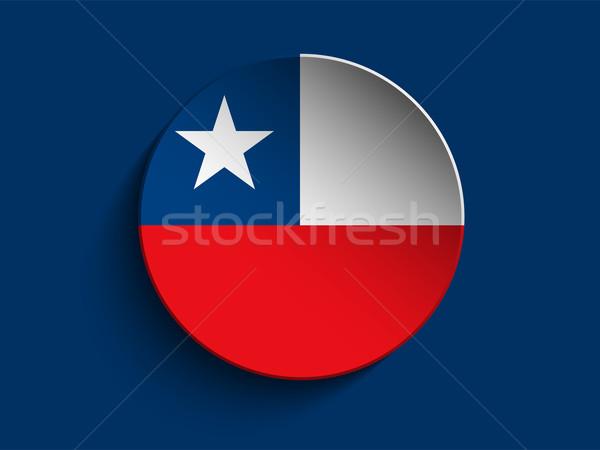 Banderą papieru kółko cień przycisk Chile Zdjęcia stock © gubh83