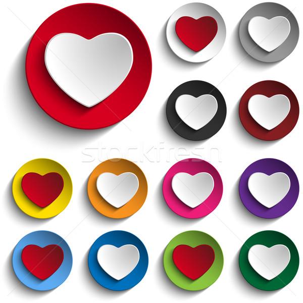 Ayarlamak valentine gün renkli kalp düğme Stok fotoğraf © gubh83