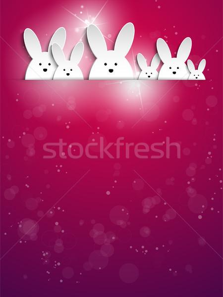 Wesołych Świąt królik bunny fioletowy wektora rodziny Zdjęcia stock © gubh83