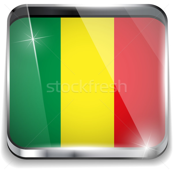 Stock photo: Mali Flag Smartphone Application Square Buttons