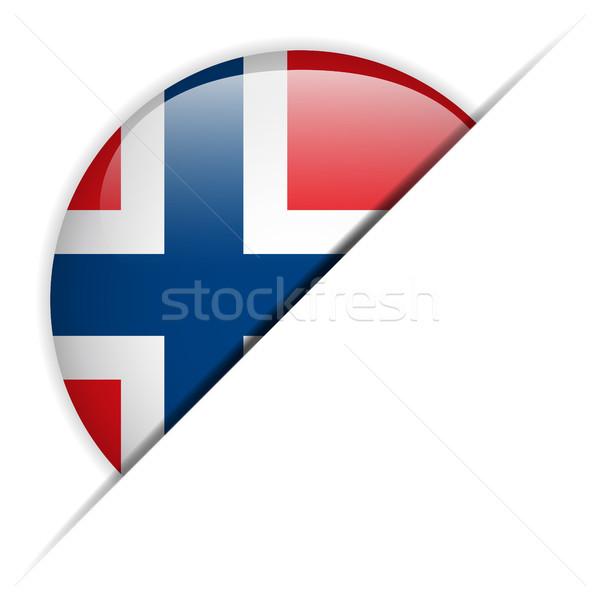 ノルウェー フラグ ボタン ベクトル ガラス ストックフォト © gubh83