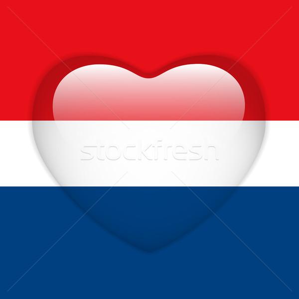 Netherlands Flag Heart Glossy Button Stock photo © gubh83