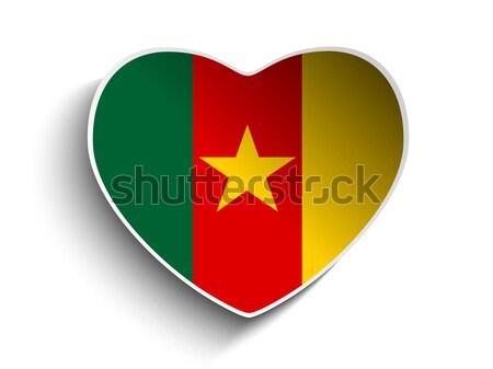Kamerun banderą serca papieru naklejki wektora Zdjęcia stock © gubh83