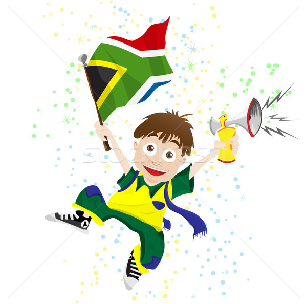 South Africa Sport Fan with Flag and Horn Stock photo © gubh83