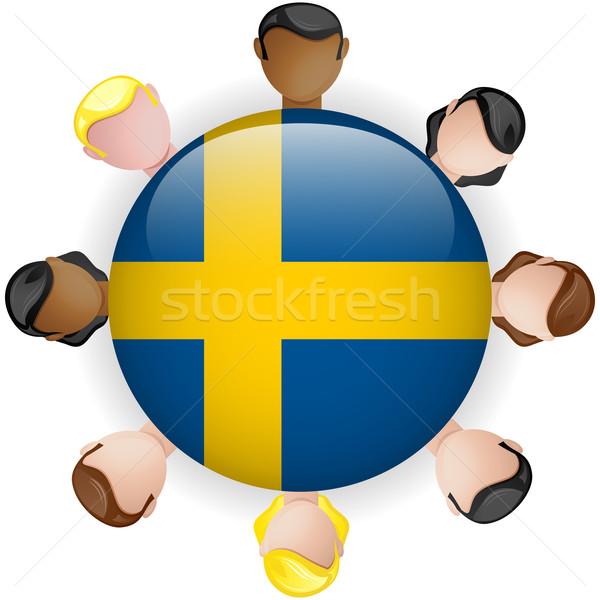 Szwecja banderą przycisk zespołowej ludzi grupy Zdjęcia stock © gubh83