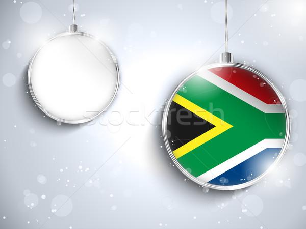 ストックフォト: 陽気な · クリスマス · 銀 · ボール · フラグ · 南アフリカ