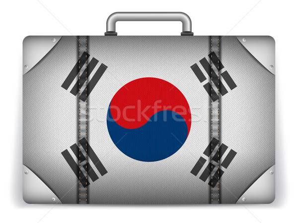 South Korea Travel Luggage with Flag for Vacation Stock photo © gubh83