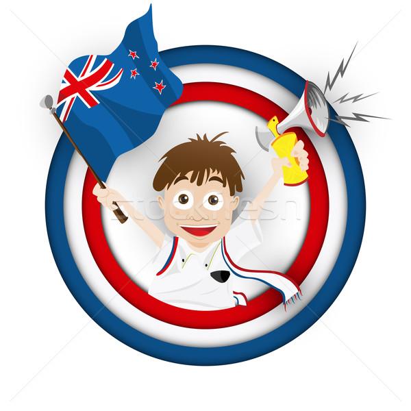Foto stock: Nueva · Zelandia · fútbol · ventilador · bandera · Cartoon · vector
