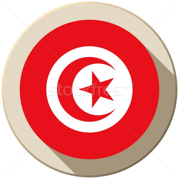 Stock photo: Tunisia Flag Button Icon Modern