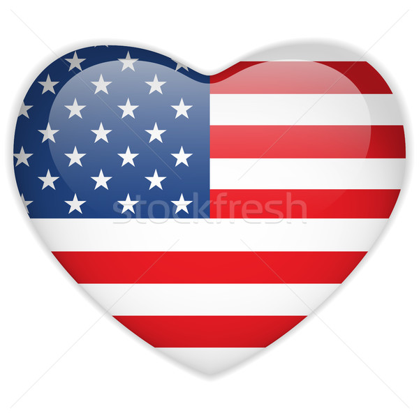 United States Flag Heart Glossy Button Stock photo © gubh83