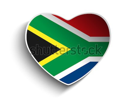 South Africa Flag Heart Paper Sticker Stock photo © gubh83