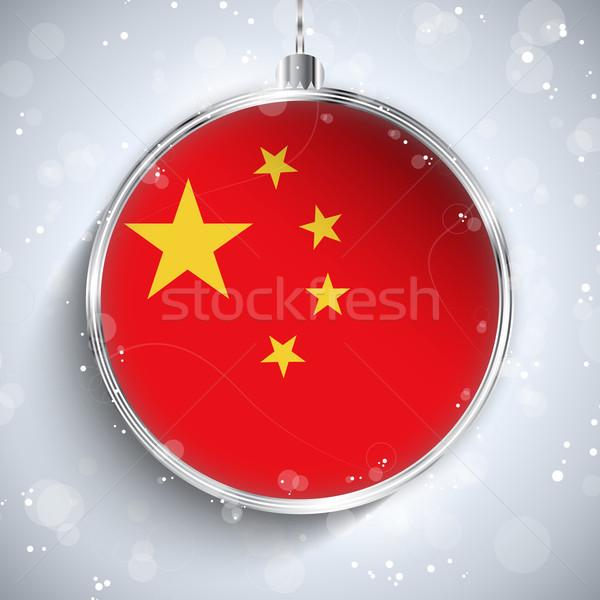 Joyeux Noël argent balle pavillon Chine Photo stock © gubh83