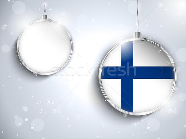 Wesoły christmas srebrny piłka banderą Finlandia Zdjęcia stock © gubh83