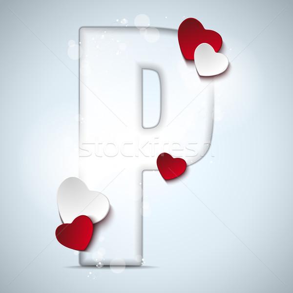 Alfabe harfler kırmızı kalp valentine gün Stok fotoğraf © gubh83
