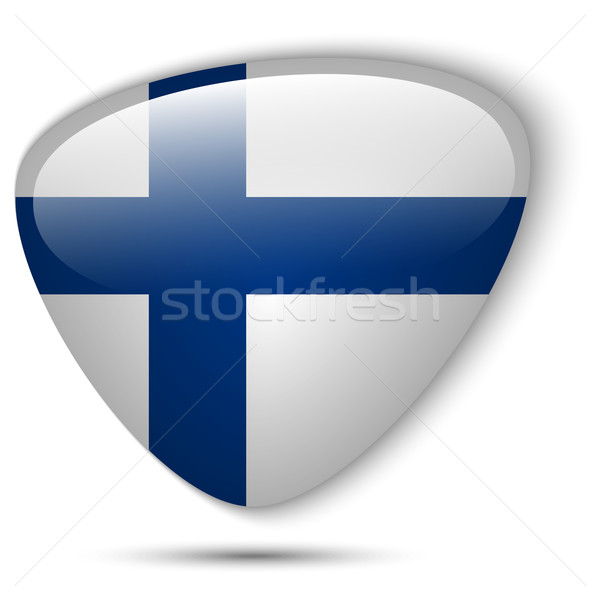 Finlândia bandeira botão vetor vidro Foto stock © gubh83