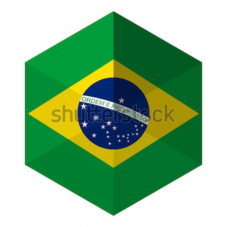 Бразилия флаг шестиугольник икона кнопки Мир Сток-фото © gubh83