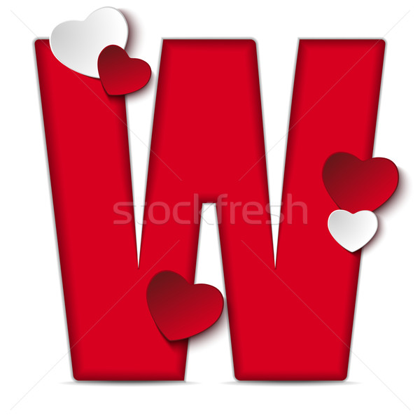 Alphabet Letters With Red Heart Valentine Day vector illustration