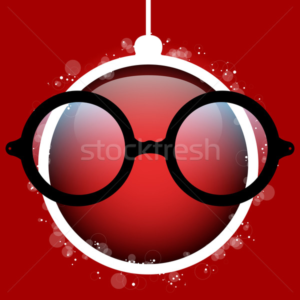 Merry Christmas Red Ball with Glasses Stock photo © gubh83